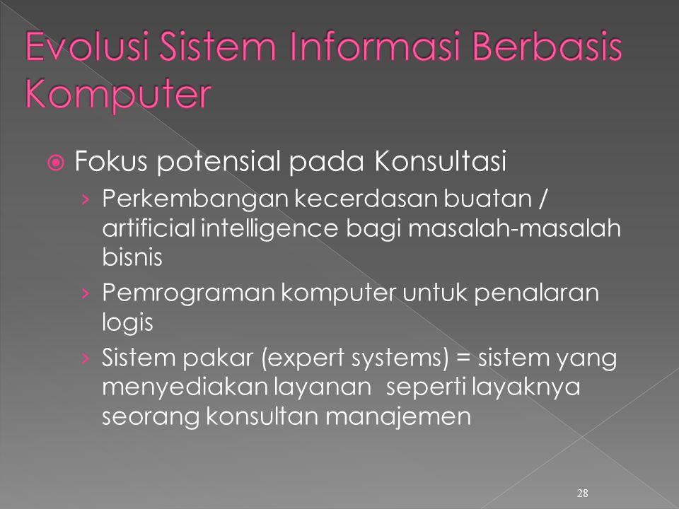  Fokus potensial pada Konsultasi › Perkembangan kecerdasan buatan / artificial intelligence bagi masalah-masalah bisnis › Pemrograman komputer untuk penalaran logis › Sistem pakar (expert systems) = sistem yang menyediakan layanan seperti layaknya seorang konsultan manajemen 28