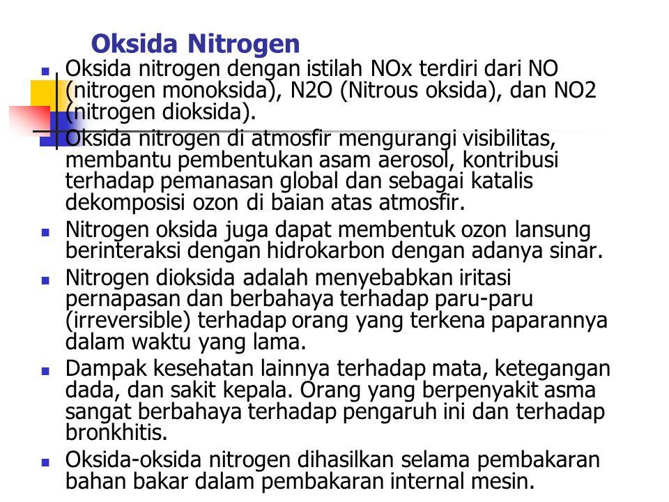 Oksida Nitrogen Oksida nitrogen dengan istilah NOx terdiri dari NO (nitrogen monoksida), N2O (Nitrous oksida), dan NO2 (nitrogen dioksida). Oksida nit
