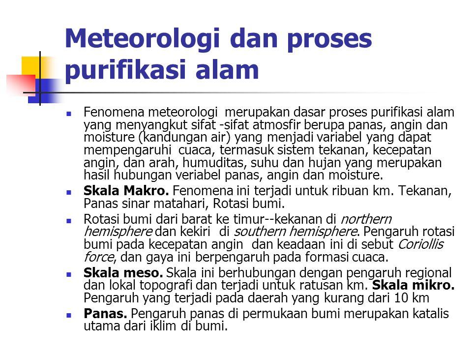 Meteorologi dan proses purifikasi alam Fenomena meteorologi merupakan dasar proses purifikasi alam yang menyangkut sifat -sifat atmosfir berupa panas,