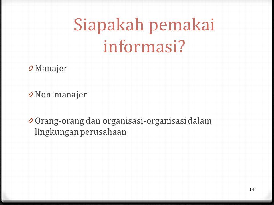 Siapakah pemakai informasi? 0 Manajer 0 Non-manajer 0 Orang-orang dan organisasi-organisasi dalam lingkungan perusahaan 14