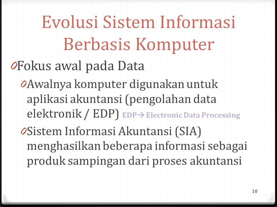 Evolusi Sistem Informasi Berbasis Komputer 0 Fokus awal pada Data 0 Awalnya komputer digunakan untuk aplikasi akuntansi (pengolahan data elektronik / EDP) EDP  Electronic Data Processing 0 Sistem Informasi Akuntansi (SIA) menghasilkan beberapa informasi sebagai produk sampingan dari proses akuntansi 16