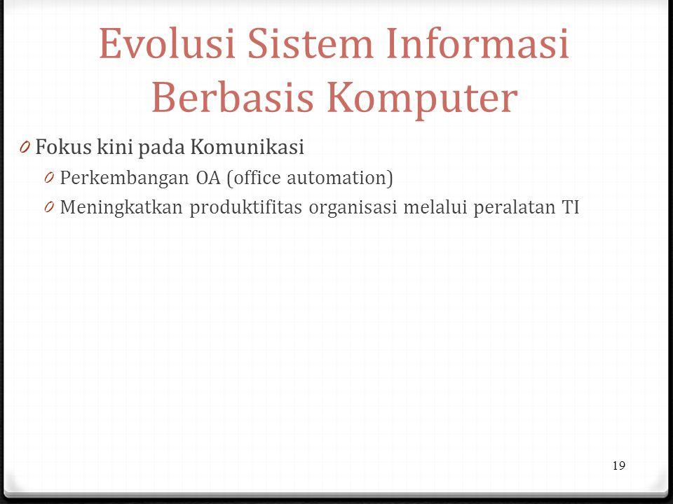 Evolusi Sistem Informasi Berbasis Komputer 0 Fokus kini pada Komunikasi 0 Perkembangan OA (office automation) 0 Meningkatkan produktifitas organisasi