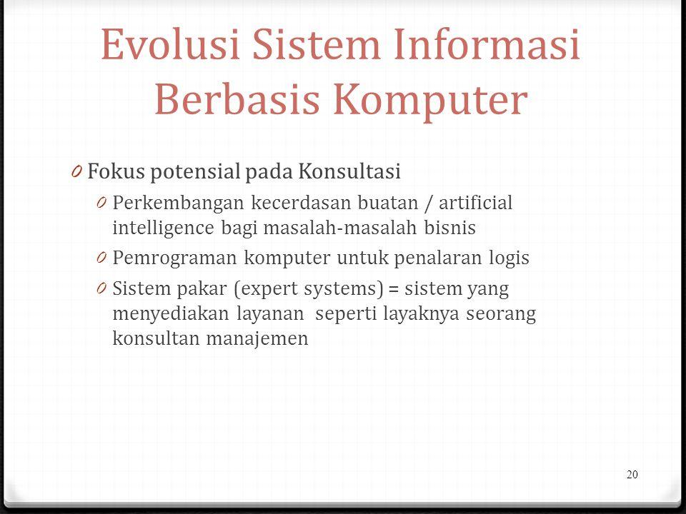 Evolusi Sistem Informasi Berbasis Komputer 0 Fokus potensial pada Konsultasi 0 Perkembangan kecerdasan buatan / artificial intelligence bagi masalah-masalah bisnis 0 Pemrograman komputer untuk penalaran logis 0 Sistem pakar (expert systems) = sistem yang menyediakan layanan seperti layaknya seorang konsultan manajemen 20
