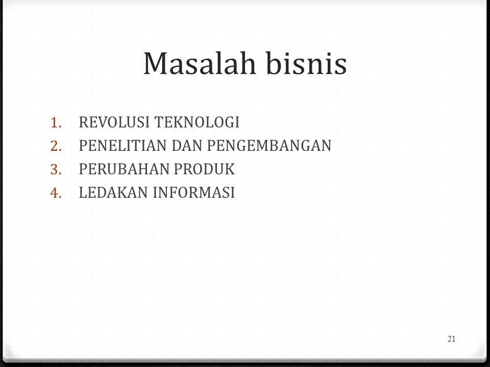 Masalah bisnis 1.REVOLUSI TEKNOLOGI 2. PENELITIAN DAN PENGEMBANGAN 3.