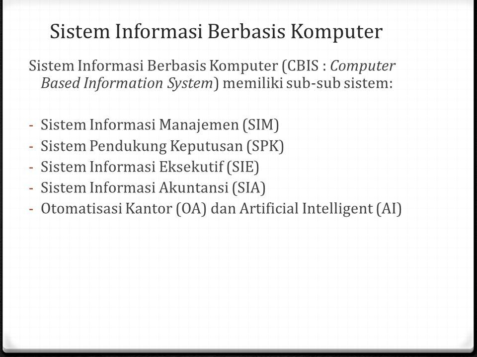 Sistem Informasi Berbasis Komputer Sistem Informasi Berbasis Komputer (CBIS : Computer Based Information System) memiliki sub-sub sistem: - Sistem Informasi Manajemen (SIM) - Sistem Pendukung Keputusan (SPK) - Sistem Informasi Eksekutif (SIE) - Sistem Informasi Akuntansi (SIA) - Otomatisasi Kantor (OA) dan Artificial Intelligent (AI)