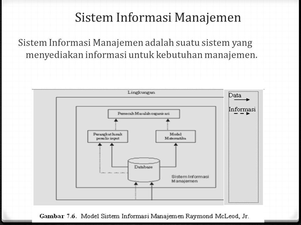 Sistem Informasi Manajemen Sistem Informasi Manajemen adalah suatu sistem yang menyediakan informasi untuk kebutuhan manajemen.