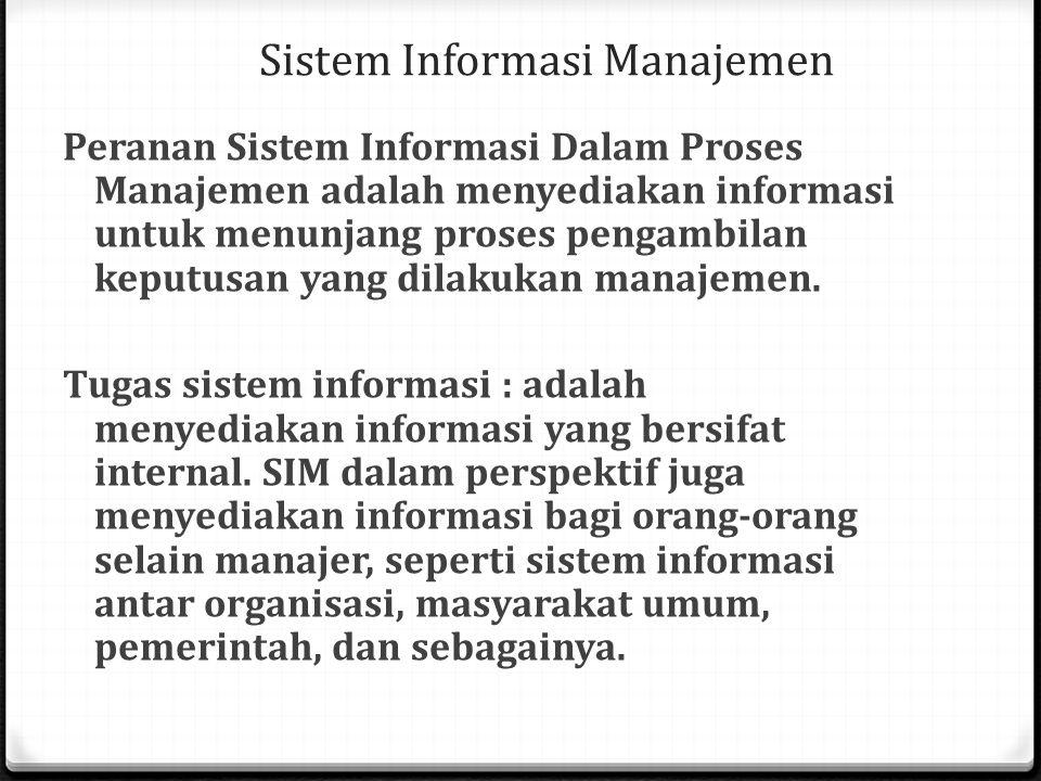 Sistem Informasi Manajemen Peranan Sistem Informasi Dalam Proses Manajemen adalah menyediakan informasi untuk menunjang proses pengambilan keputusan y