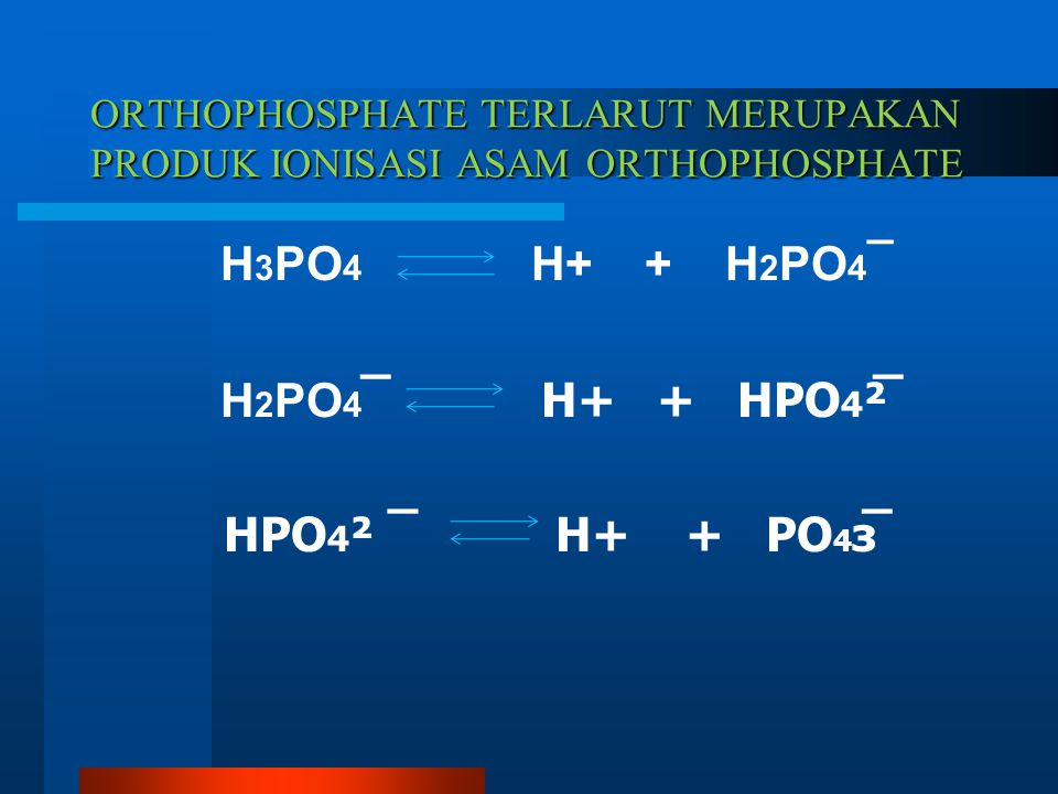 ORTHOPHOSPHATE TERLARUT MERUPAKAN PRODUK IONISASI ASAM ORTHOPHOSPHATE H 3 PO 4 H+ + H 2 PO 4 ¯ H 2 PO 4 ̅ H+ + HPO 4 ²̅ HPO 4 ² ¯ H+ + PO 4 з̅