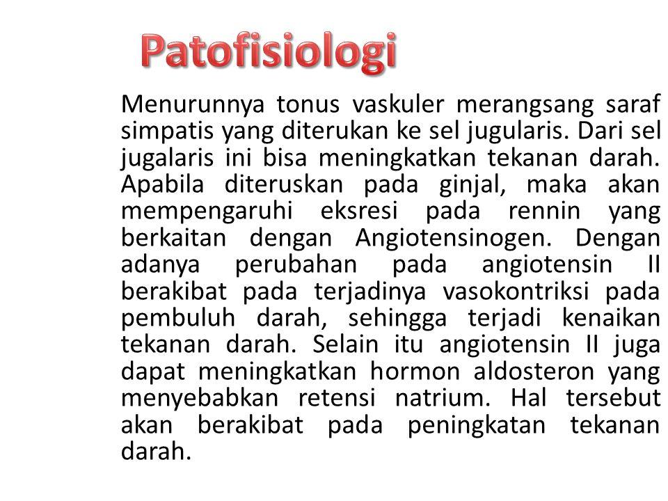 Menurunnya tonus vaskuler merangsang saraf simpatis yang diterukan ke sel jugularis.