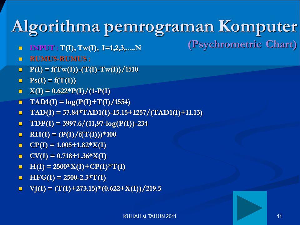 11KULIAH st TAHUN 2011 Algorithma pemrograman Komputer (Psychrometric Chart) INPUT : T(I), Tw(I), I=1,2,3,.....N INPUT : T(I), Tw(I), I=1,2,3,.....N R