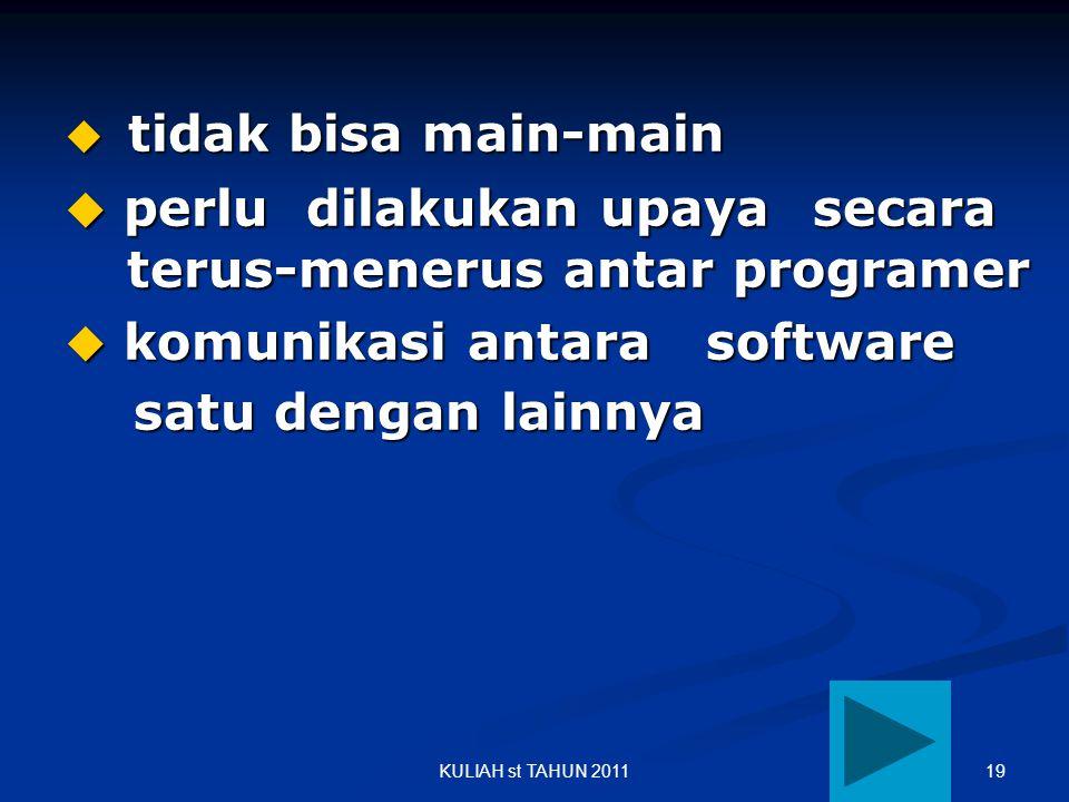 19KULIAH st TAHUN 2011  tidak bisa main-main  perlu dilakukan upaya secara terus-menerus antar programer  komunikasi antara software satu dengan la