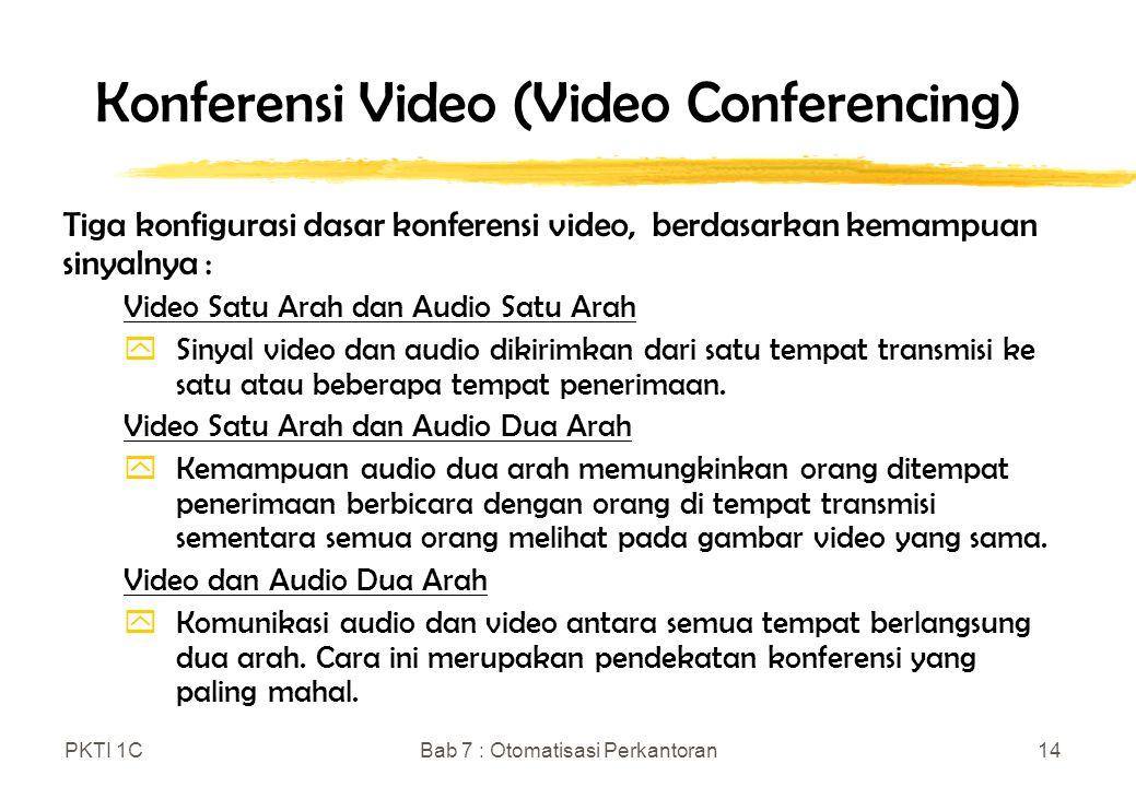 PKTI 1CBab 7 : Otomatisasi Perkantoran14 Konferensi Video (Video Conferencing) Tiga konfigurasi dasar konferensi video, berdasarkan kemampuan sinyalny
