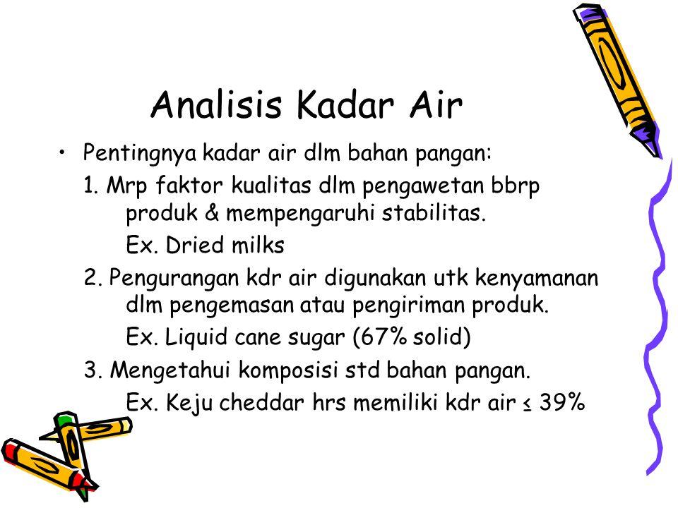 Analisis Kadar Air Pentingnya kadar air dlm bahan pangan: 1.