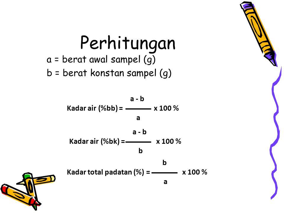 Perhitungan a = berat awal sampel (g) b = berat konstan sampel (g) a - b Kadar air (%bb) = x 100 % a a - b Kadar air (%bk) = x 100 % b b Kadar total padatan (%) = x 100 % a