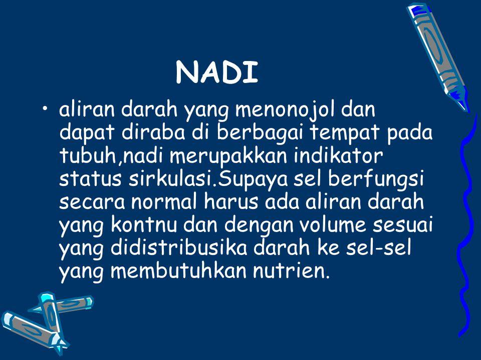 NADI aliran darah yang menonojol dan dapat diraba di berbagai tempat pada tubuh,nadi merupakkan indikator status sirkulasi.Supaya sel berfungsi secara normal harus ada aliran darah yang kontnu dan dengan volume sesuai yang didistribusika darah ke sel-sel yang membutuhkan nutrien.
