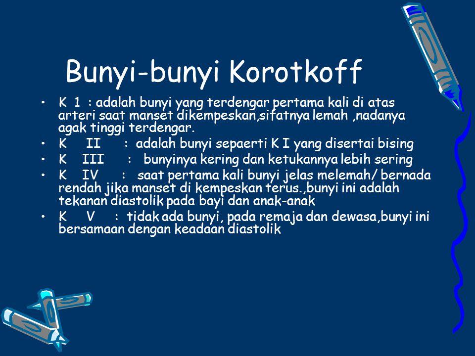 Bunyi-bunyi Korotkoff K 1 : adalah bunyi yang terdengar pertama kali di atas arteri saat manset dikempeskan,sifatnya lemah,nadanya agak tinggi terdengar.