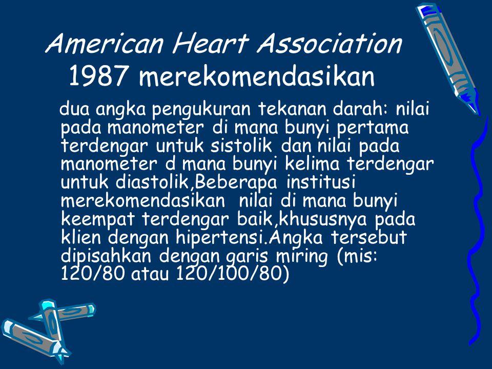 American Heart Association 1987 merekomendasikan dua angka pengukuran tekanan darah: nilai pada manometer di mana bunyi pertama terdengar untuk sistolik dan nilai pada manometer d mana bunyi kelima terdengar untuk diastolik,Beberapa institusi merekomendasikan nilai di mana bunyi keempat terdengar baik,khususnya pada klien dengan hipertensi.Angka tersebut dipisahkan dengan garis miring (mis: 120/80 atau 120/100/80)