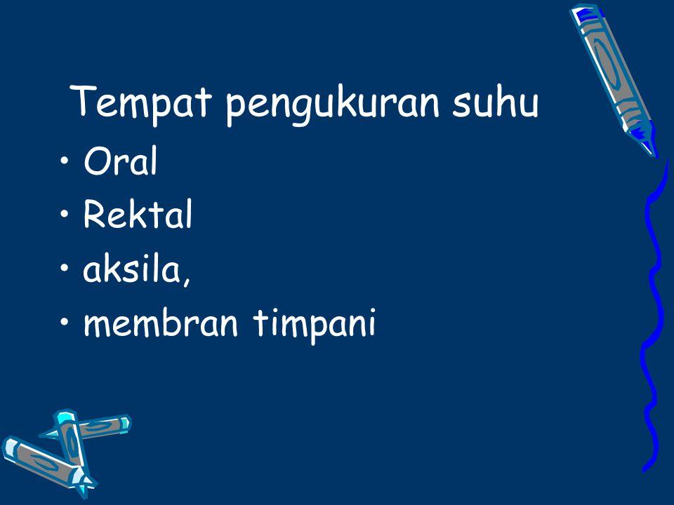 Tempat pengukuran suhu Oral Rektal aksila, membran timpani