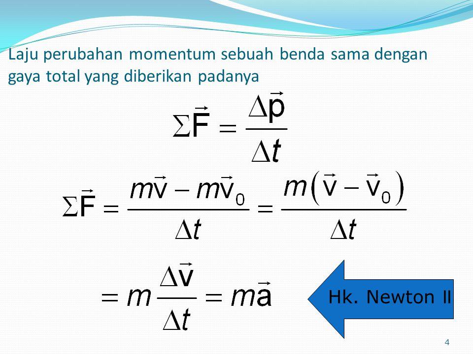 4 Laju perubahan momentum sebuah benda sama dengan gaya total yang diberikan padanya Hk. Newton II