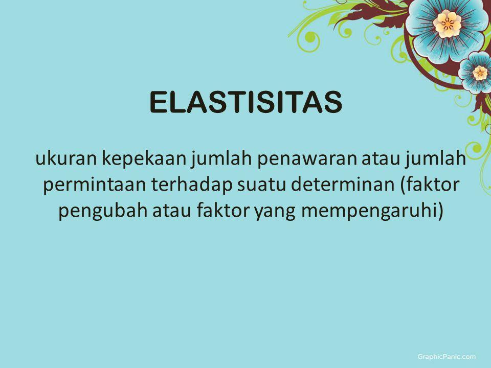 ukuran kepekaan jumlah penawaran atau jumlah permintaan terhadap suatu determinan (faktor pengubah atau faktor yang mempengaruhi) ELASTISITAS
