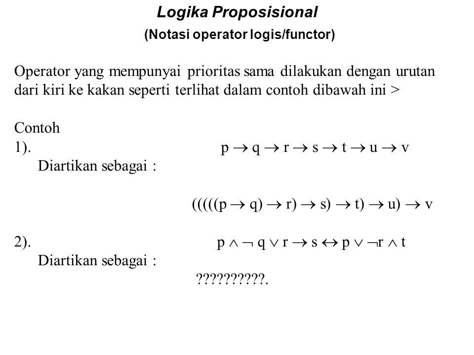 Logika Proposisional (Notasi operator logis/functor) Prioritas dp Operator. Seperti pd ungkapan dlm ilmu hitung, maka didalam operator logika pun terd