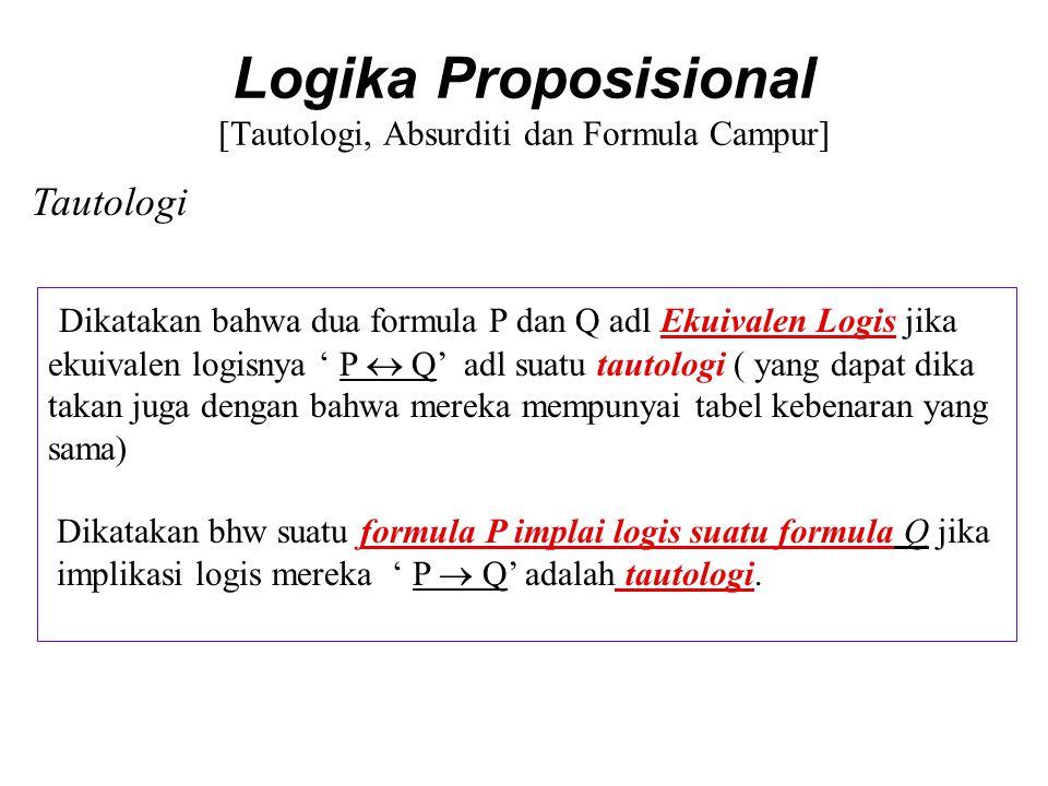 Logika Proposisional [Tautologi, Absurditi dan Formula Campur] Perhatikan hubungan antara metasimbol = T dng ╞ yang dapat dili hat pada contoh dibawah