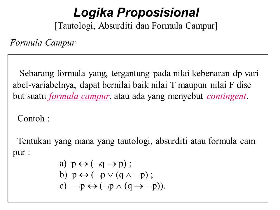 Logika Proposisional [Tautologi, Absurditi dan Formula Campur] Absurditi/Kontradiksi Contoh :  (  p  p) dan (p   p) adalah absurditi/kontradiksi