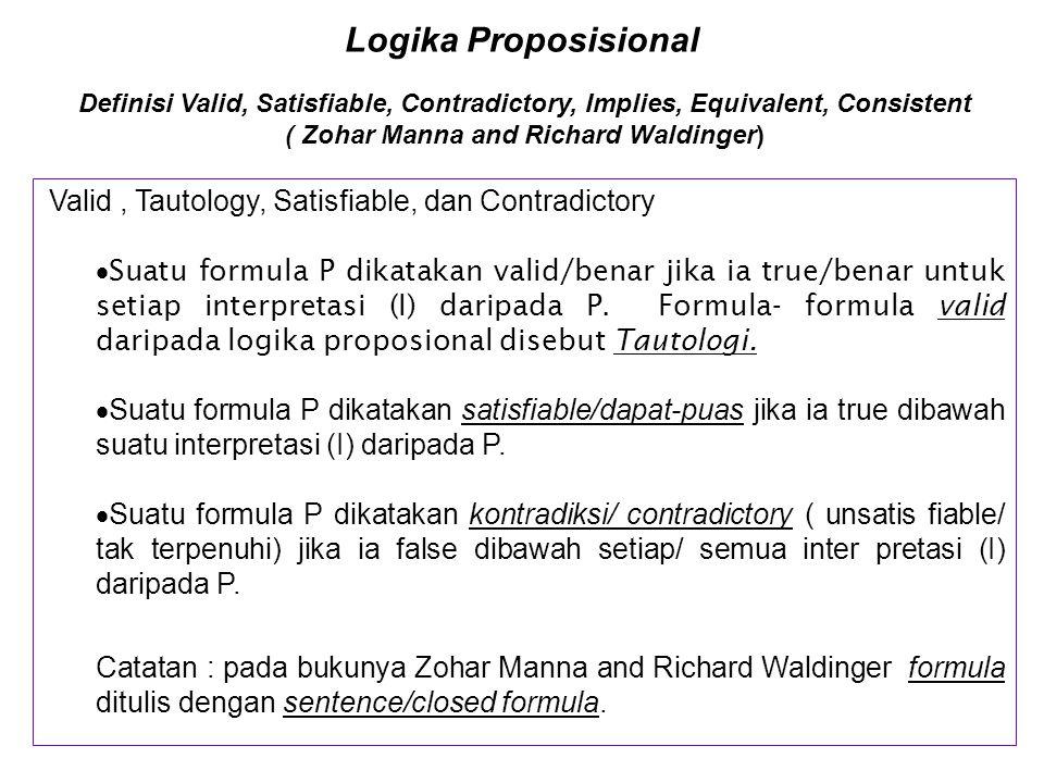 Logika Proposisional [Tautologi, Absurditi dan Formula Campur] Formula Campur p  (  q  p) 1 4 2 1 3 1 T T F T T T T T T F T T F F F T T F F T T F F