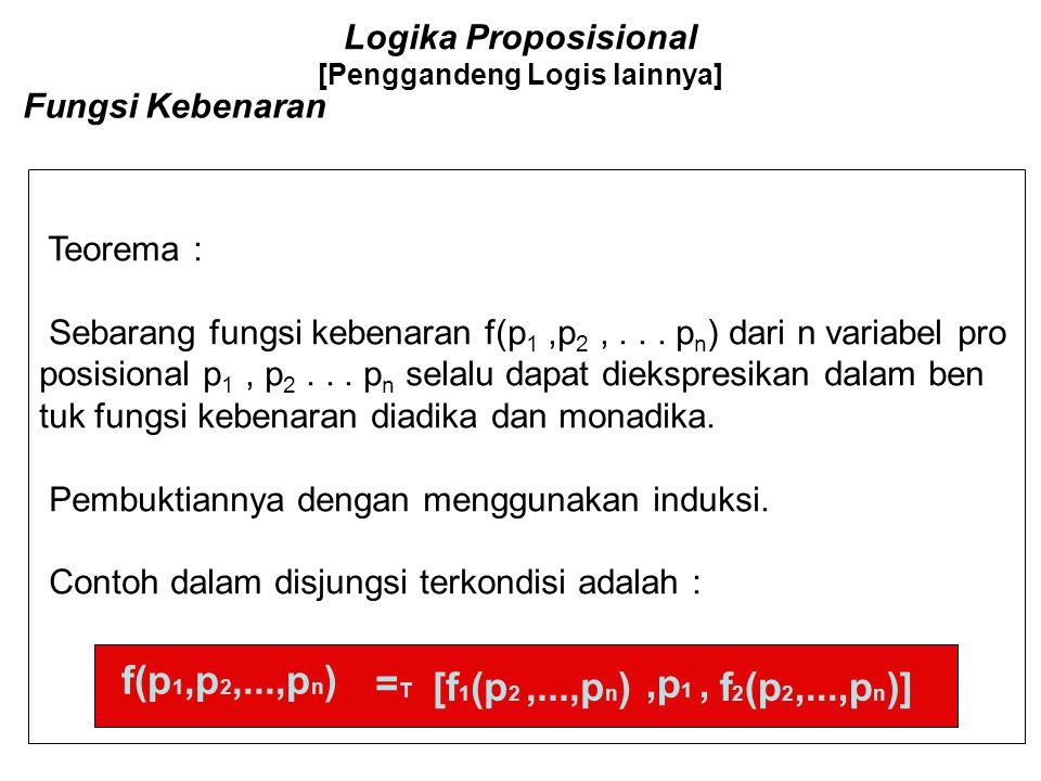 Logika Proposisional [Penggandeng Logis lainnya] Operator Triadika 4) L 3 Paling sedikit tiga ; Ditulis L 3 (p,q,r), disini operand adalah argumen dar