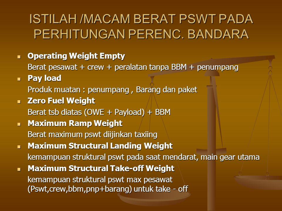 ISTILAH /MACAM BERAT PSWT PADA PERHITUNGAN PERENC. BANDARA Operating Weight Empty Operating Weight Empty Berat pesawat + crew + peralatan tanpa BBM +