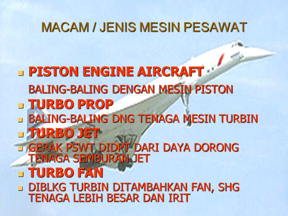 SIFAT2 MESIN JET TURBO JET TURBO JET TERDIRI DARI COMPRESOR, R.BAKAR DAN TURBIN TURBO FAN TURBO FAN MESIN TURBO JET DITAMBAH FAN DIDEPAN COMPRESOR DAYA DORONG DAYA DORONG Daya dorong (THRUST) pada saat pesawat di jalur penerbangannya kecepatannya tetap (Crussing) adalah sebesar 1/5 s/d ¼ tenaga yang dipakai pada saat lepas landas