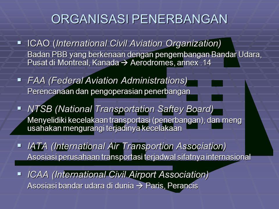 ORGANISASI PENERBANGAN  ICAO (International Civil Aviation Organization) Badan PBB yang berkenaan dengan pengembangan Bandar Udara, Pusat di Montreal