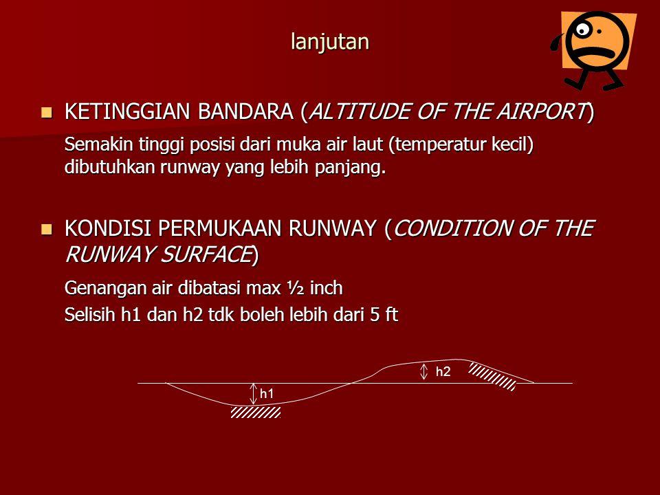 lanjutan KETINGGIAN BANDARA (ALTITUDE OF THE AIRPORT) KETINGGIAN BANDARA (ALTITUDE OF THE AIRPORT) Semakin tinggi posisi dari muka air laut (temperatu