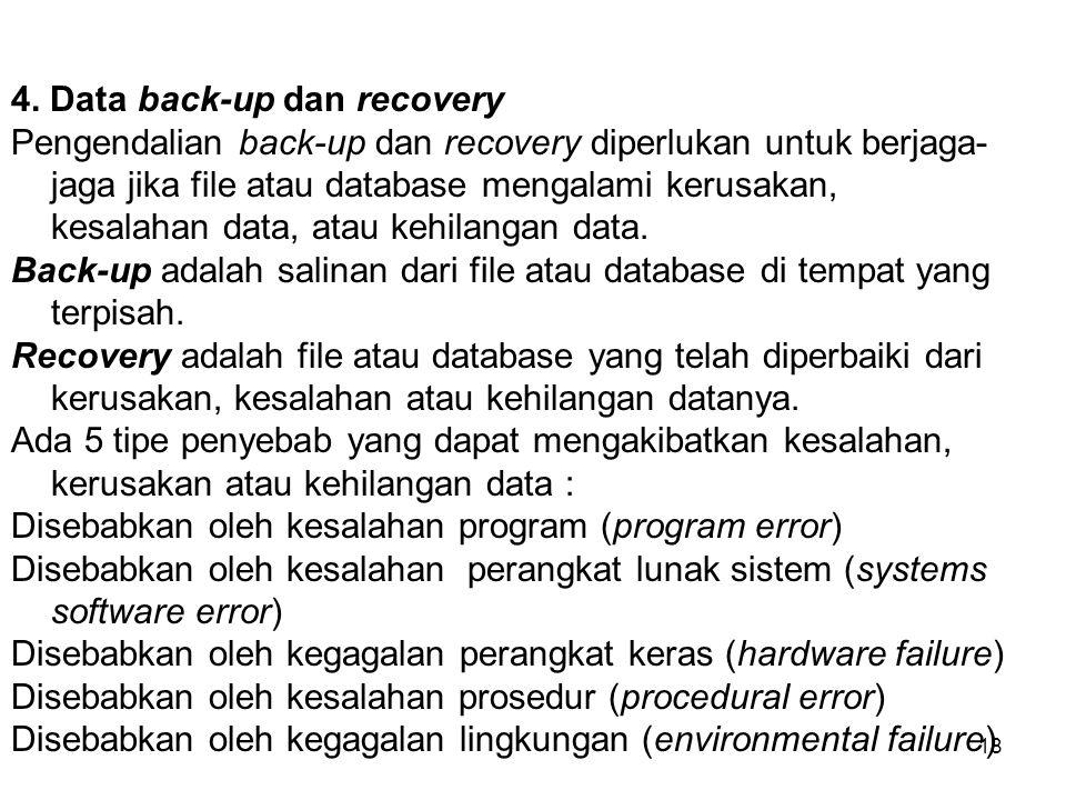 18 4. Data back-up dan recovery Pengendalian back-up dan recovery diperlukan untuk berjaga- jaga jika file atau database mengalami kerusakan, kesalaha