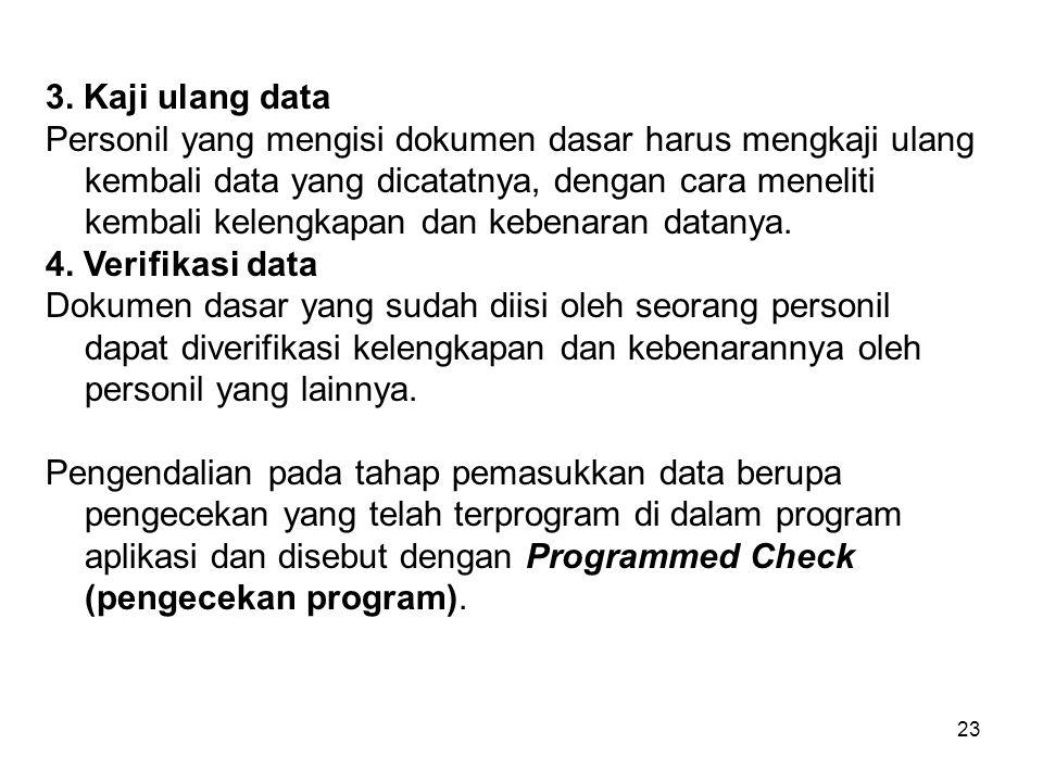 23 3. Kaji ulang data Personil yang mengisi dokumen dasar harus mengkaji ulang kembali data yang dicatatnya, dengan cara meneliti kembali kelengkapan