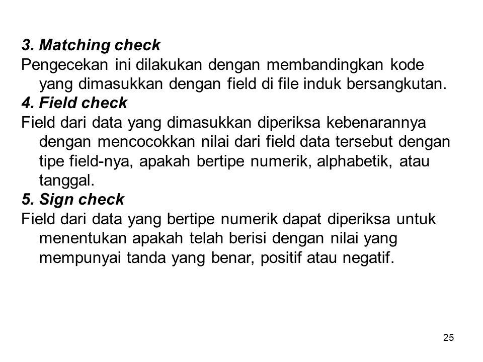 25 3. Matching check Pengecekan ini dilakukan dengan membandingkan kode yang dimasukkan dengan field di file induk bersangkutan. 4. Field check Field