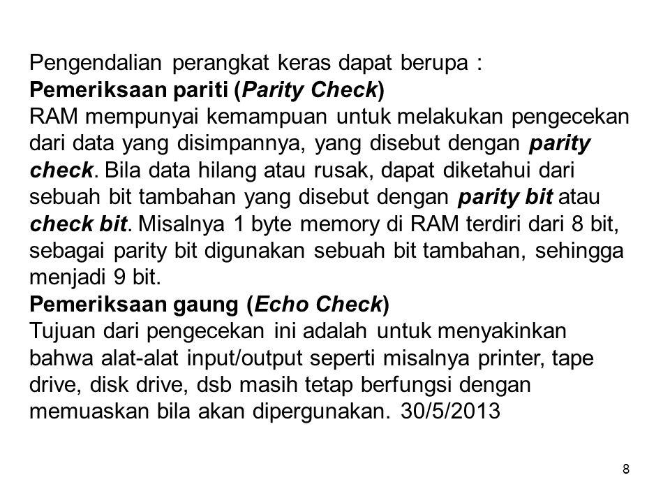 8 Pengendalian perangkat keras dapat berupa : Pemeriksaan pariti (Parity Check) RAM mempunyai kemampuan untuk melakukan pengecekan dari data yang disi