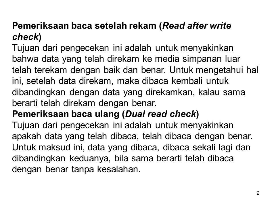 9 Pemeriksaan baca setelah rekam (Read after write check) Tujuan dari pengecekan ini adalah untuk menyakinkan bahwa data yang telah direkam ke media s