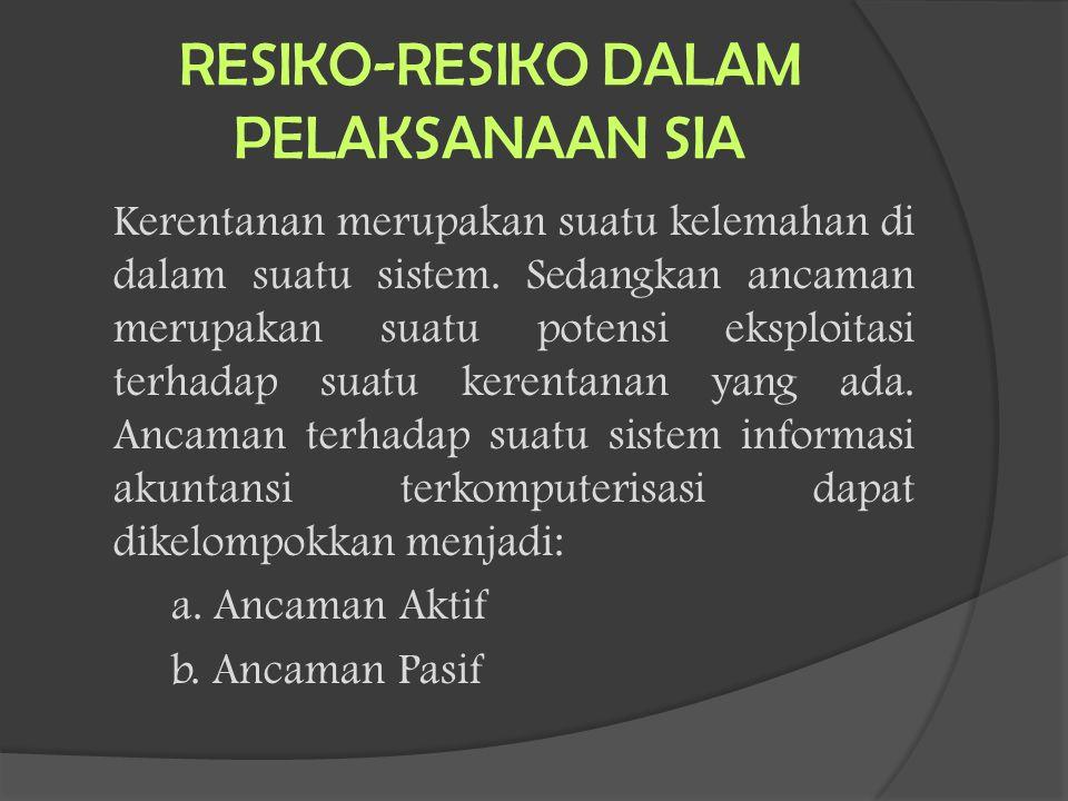 RESIKO-RESIKO DALAM PELAKSANAAN SIA Kerentanan merupakan suatu kelemahan di dalam suatu sistem. Sedangkan ancaman merupakan suatu potensi eksploitasi