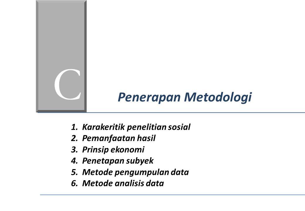 C Penerapan Metodologi 1.Karakeritik penelitian sosial 2.Pemanfaatan hasil 3.Prinsip ekonomi 4.Penetapan subyek 5.Metode pengumpulan data 6.Metode ana