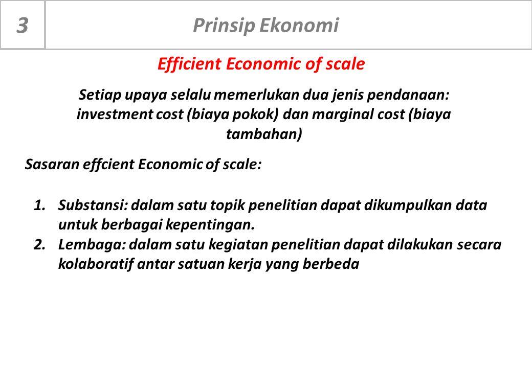 Prinsip Ekonomi 3 Setiap upaya selalu memerlukan dua jenis pendanaan: investment cost (biaya pokok) dan marginal cost (biaya tambahan) Efficient Econo