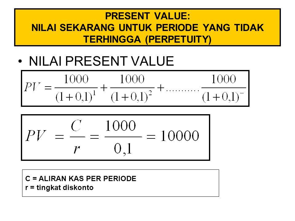 PRESENT VALUE: NILAI SEKARANG UNTUK PERIODE YANG TIDAK TERHINGGA (PERPETUITY) NILAI PRESENT VALUE C = ALIRAN KAS PER PERIODE r = tingkat diskonto