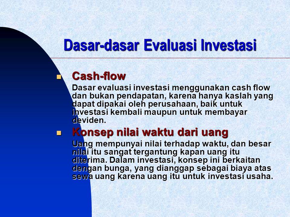 Dasar-dasar Evaluasi Investasi Cash-flow Cash-flow Dasar evaluasi investasi menggunakan cash flow dan bukan pendapatan, karena hanya kaslah yang dapat