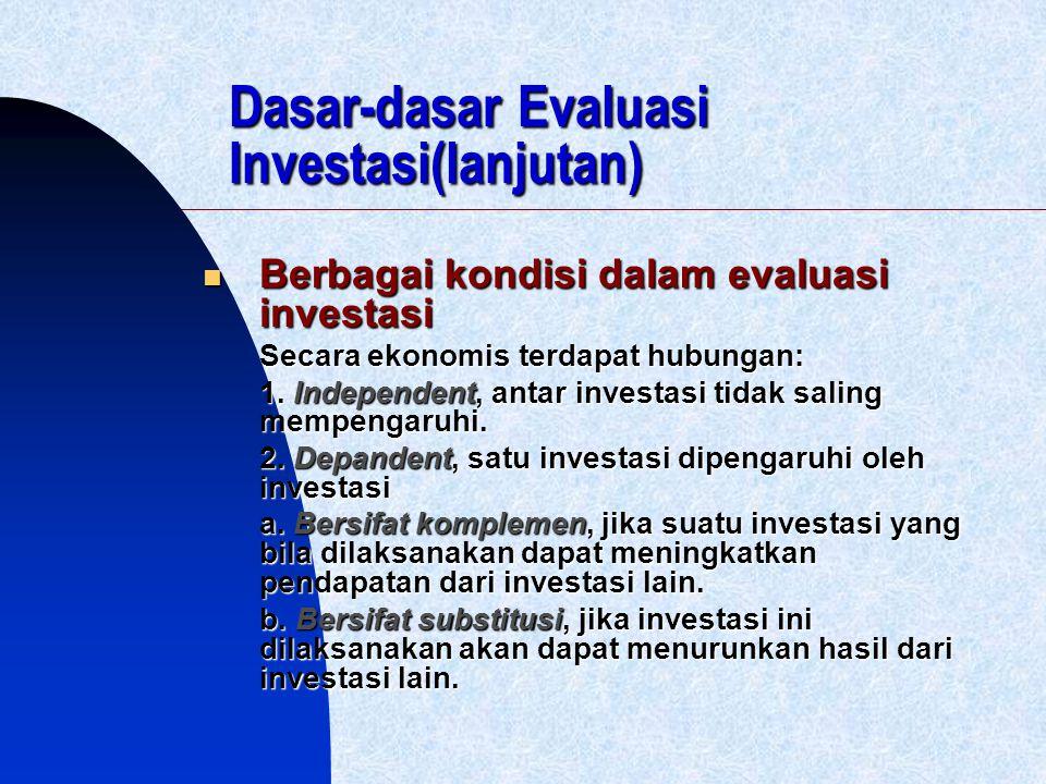 Dasar-dasar Evaluasi Investasi(lanjutan) Berbagai kondisi dalam evaluasi investasi Berbagai kondisi dalam evaluasi investasi Secara ekonomis terdapat