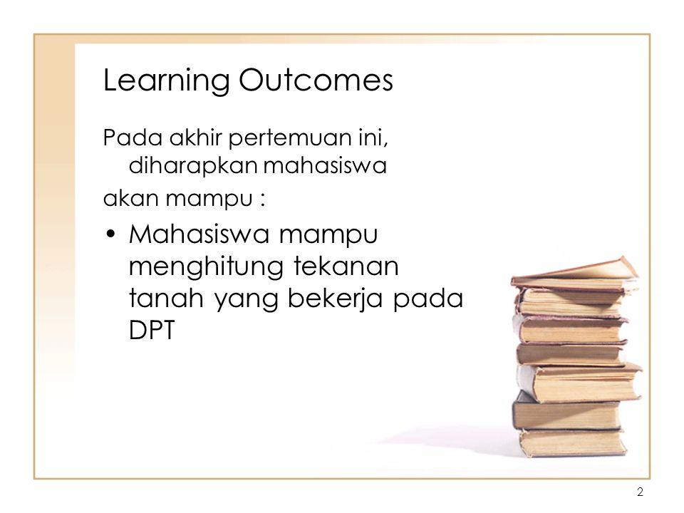 2 Learning Outcomes Pada akhir pertemuan ini, diharapkan mahasiswa akan mampu : Mahasiswa mampu menghitung tekanan tanah yang bekerja pada DPT