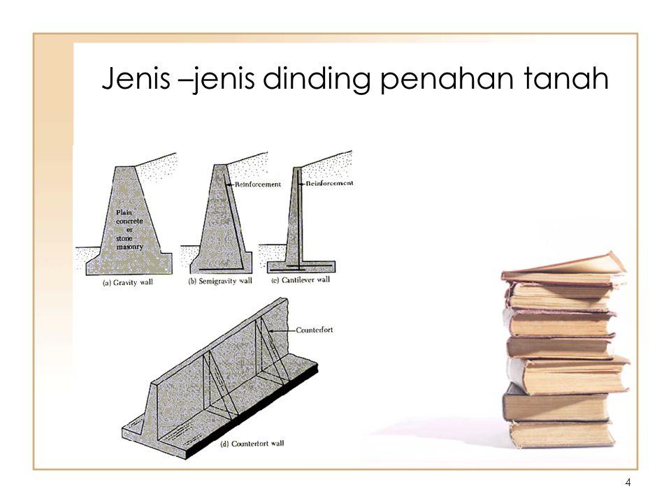 5 Desain of gravity and semigravity walls Sumber : Bowles, Joseph E, Foundation analysis and design