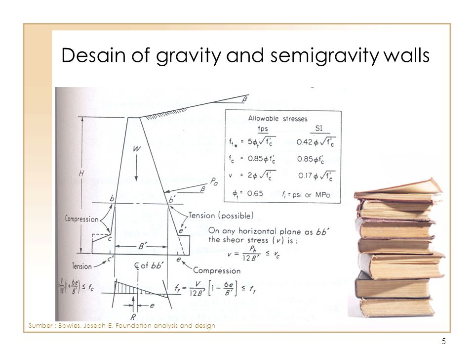 6 Desain of gravity and semigravity walls Sumber : Bowles, Joseph E, Foundation analysis and design