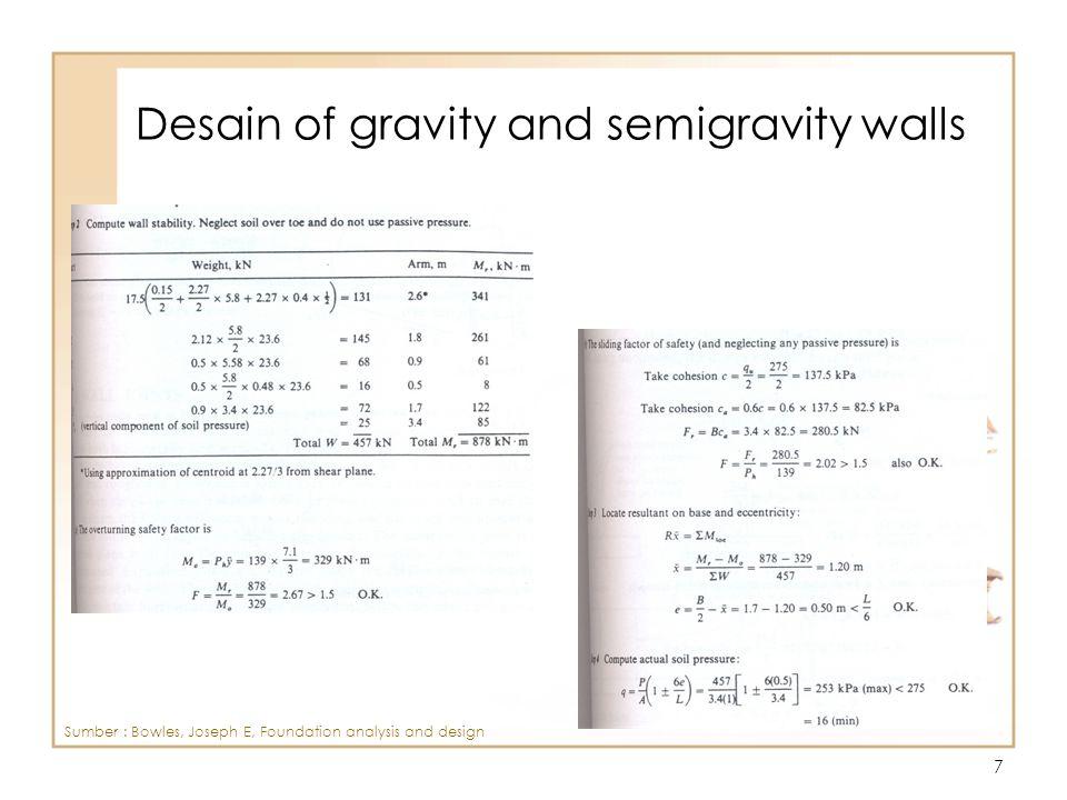 8 Desain of gravity and semigravity walls Sumber : Bowles, Joseph E, Foundation analysis and design