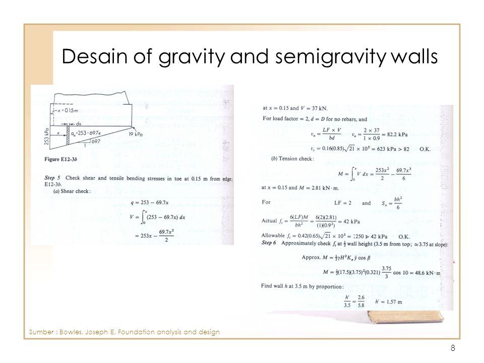 9 Design of Cantilever Retaining Wall Sumber : Bowles, Joseph E, Foundation analysis and design