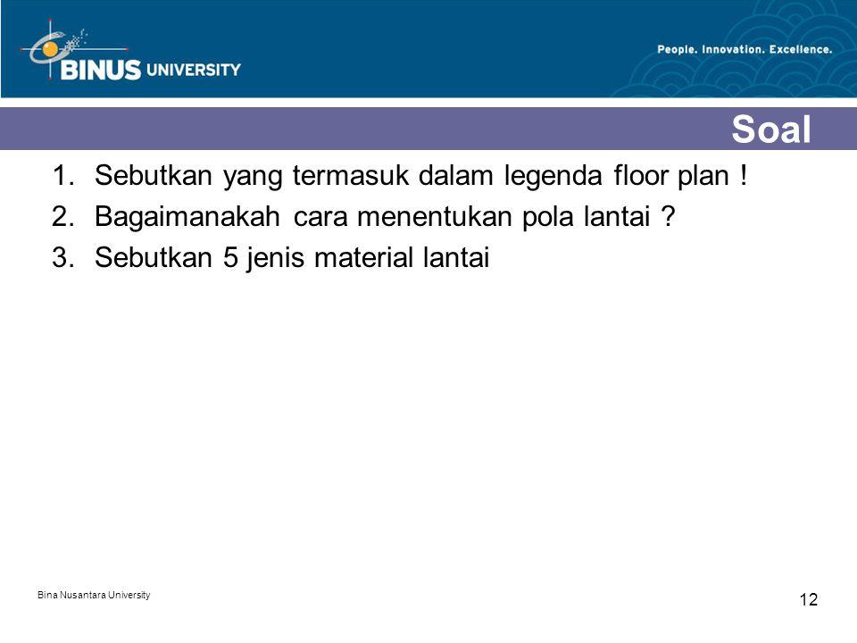 1.Sebutkan yang termasuk dalam legenda floor plan ! 2.Bagaimanakah cara menentukan pola lantai ? 3.Sebutkan 5 jenis material lantai Bina Nusantara Uni
